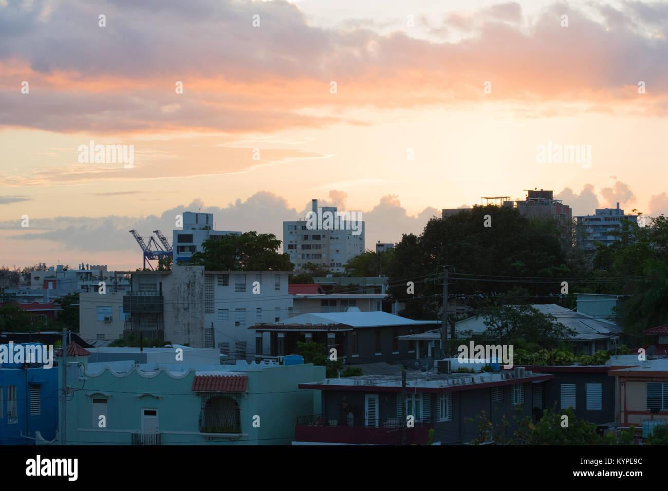 Sunset on Santurce, Puerto Rico - Stock Image
