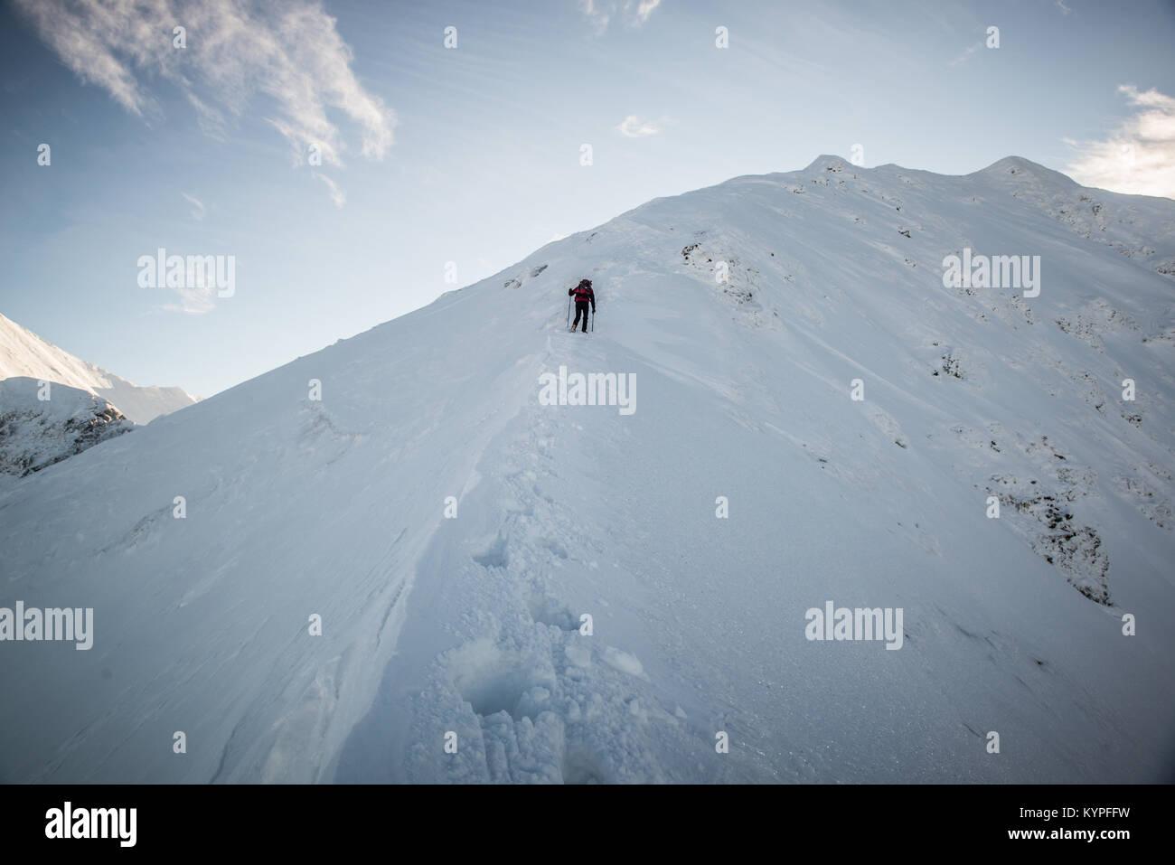Winter, Tourist in Mountains, Stock Photo