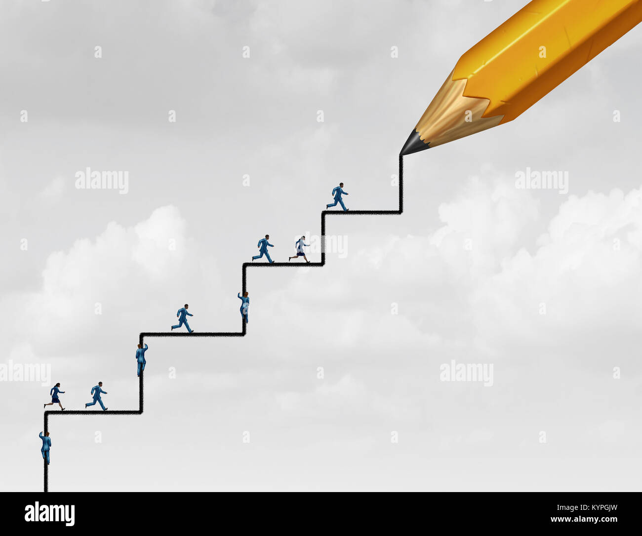 Steps of success planning as people running and climbing with a pencil drawing an opportunity to succeed with 3D - Stock Image