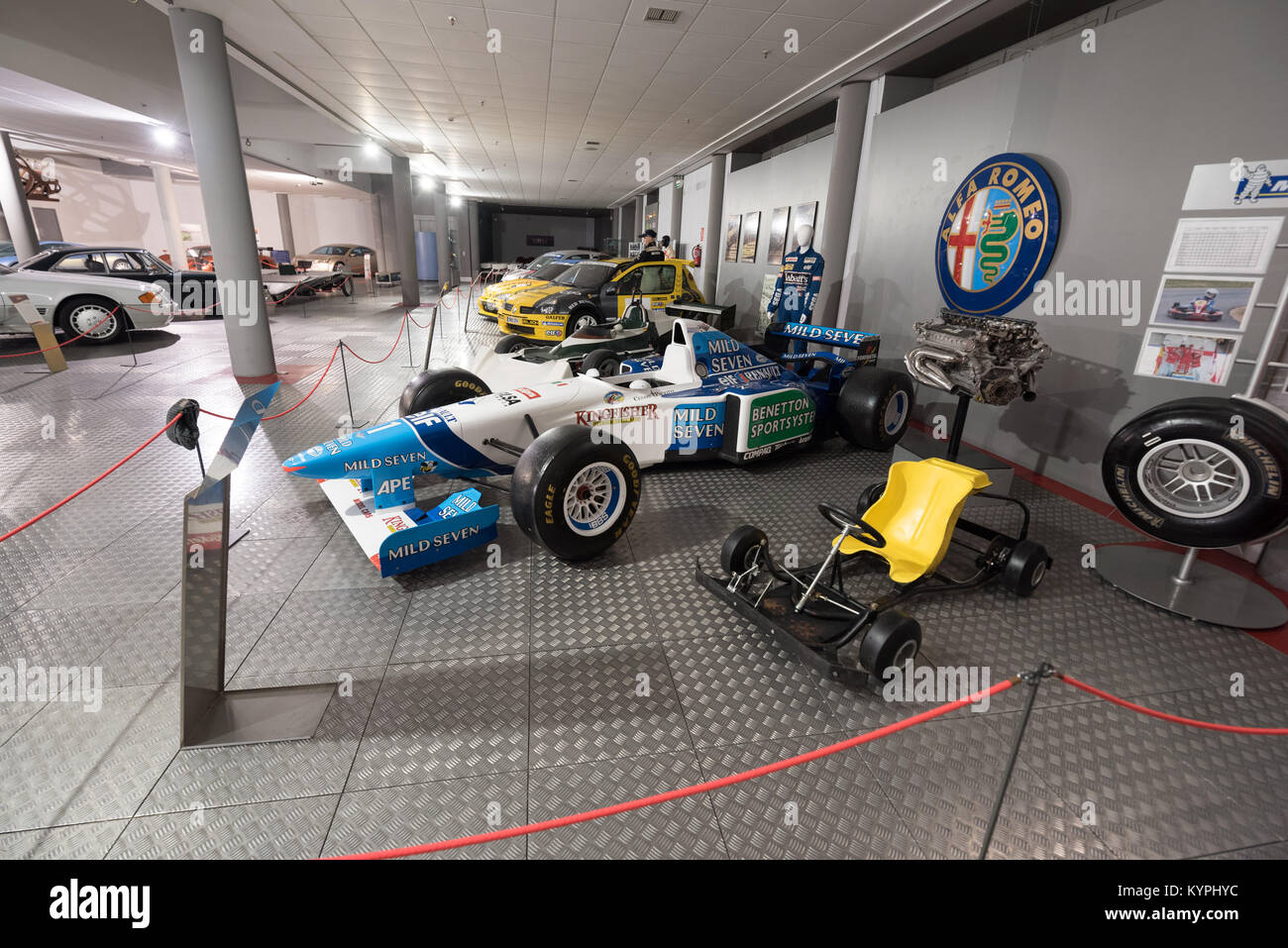 Salamanca, Spain - December 29 2017 : Michael Schumacher Benetton Renault 1995 formula 1 car in museum of the history - Stock Image