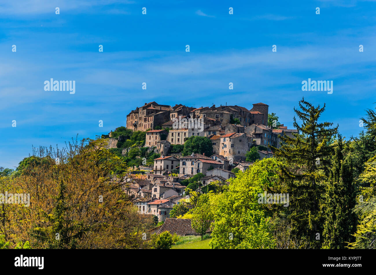 Considered the first bastille of the south of France the village of Cordes-sur-ciel, is located in the department - Stock Image