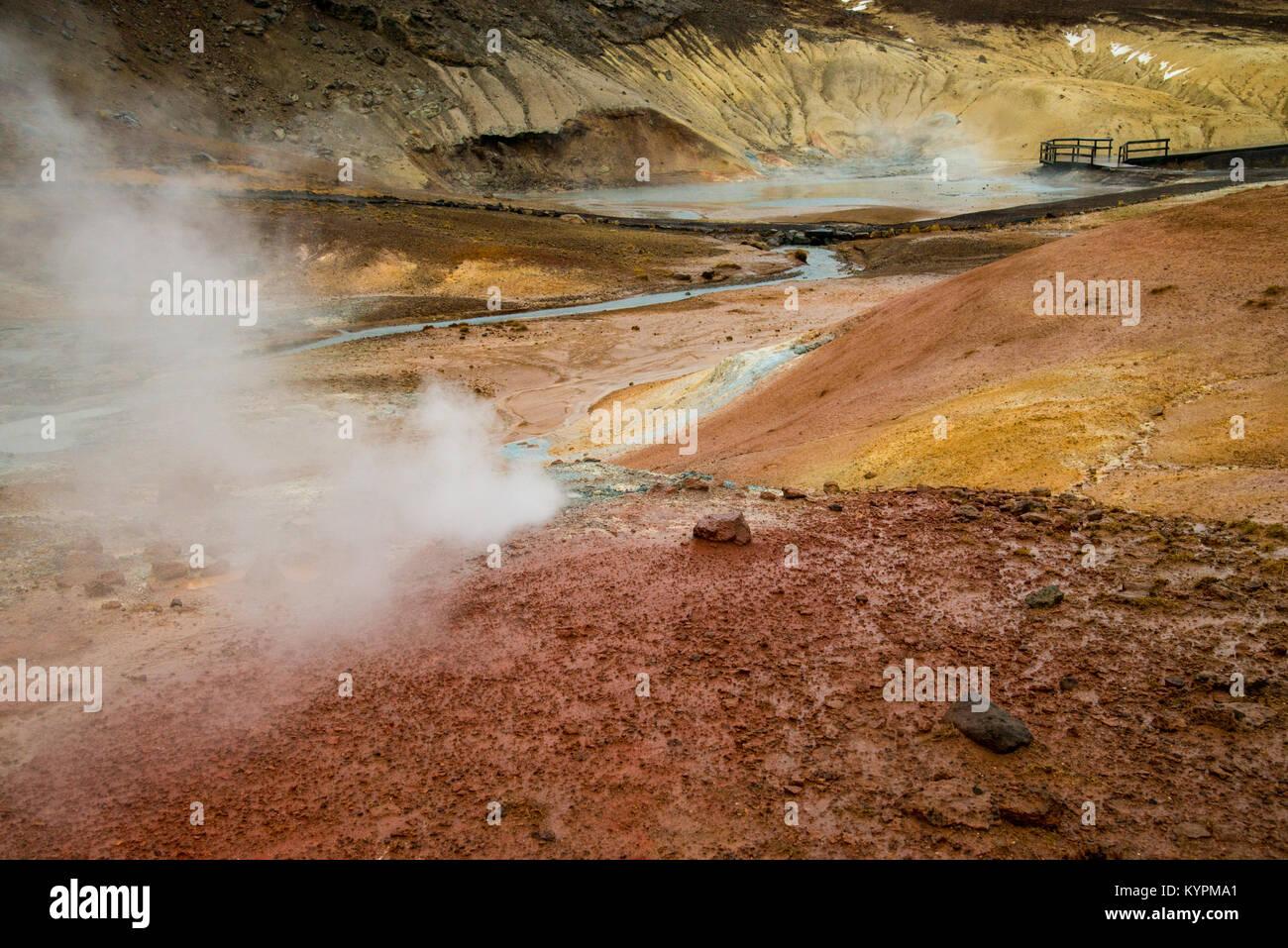 Seltun geothermal area on the  Reykjanes Penninsula, Iceland - Stock Image
