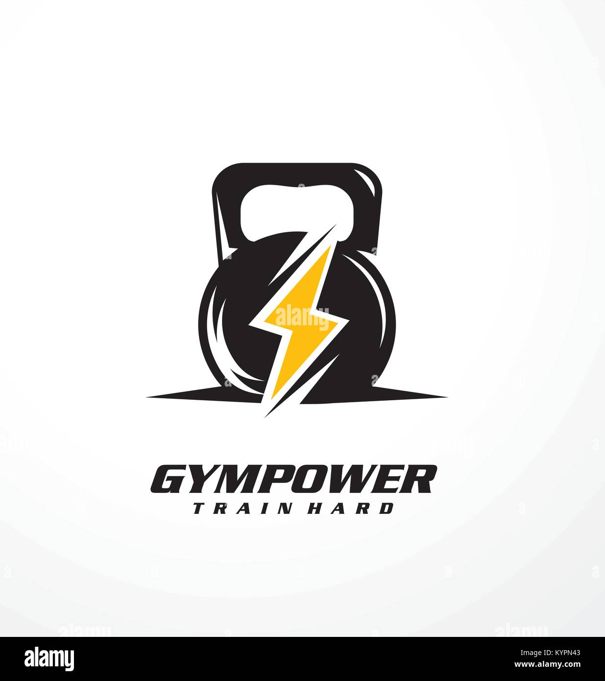 Gym power logo design idea with kettle bell and thunder ...