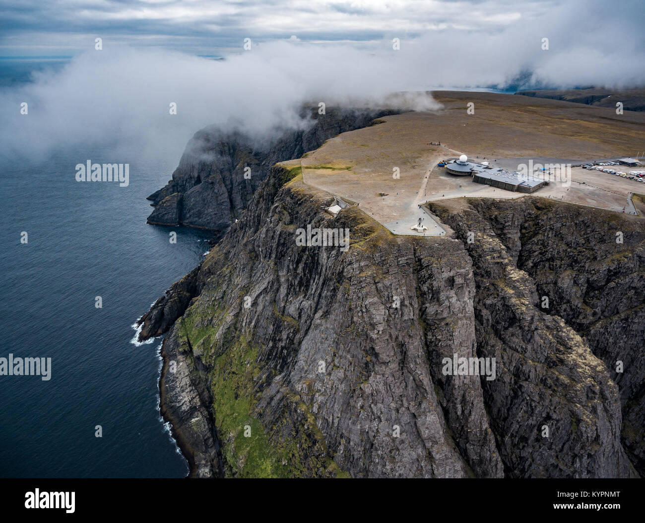 Barents Sea coast North Cape (Nordkapp) in northern Norway aerial photography. - Stock Image