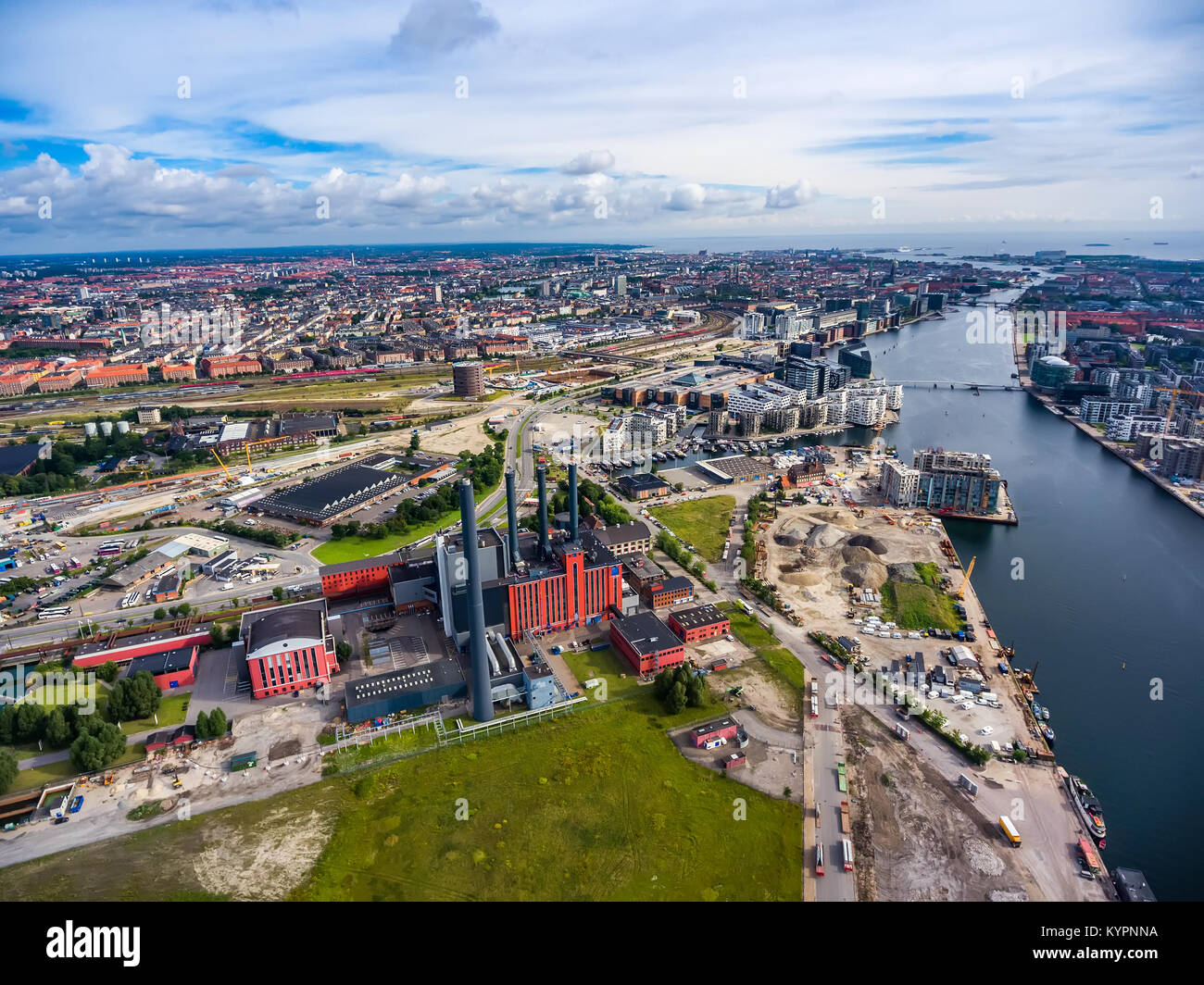 City aerial view over Copenhagen, The Denmark. View from the bird's flight. HC Oersted Power Station - Stock Image