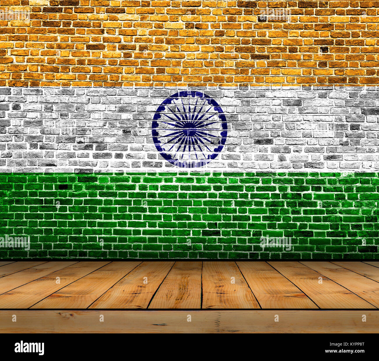 Brick Flooring India: India Flag Painted On Brick Wall With Wooden Floor Stock