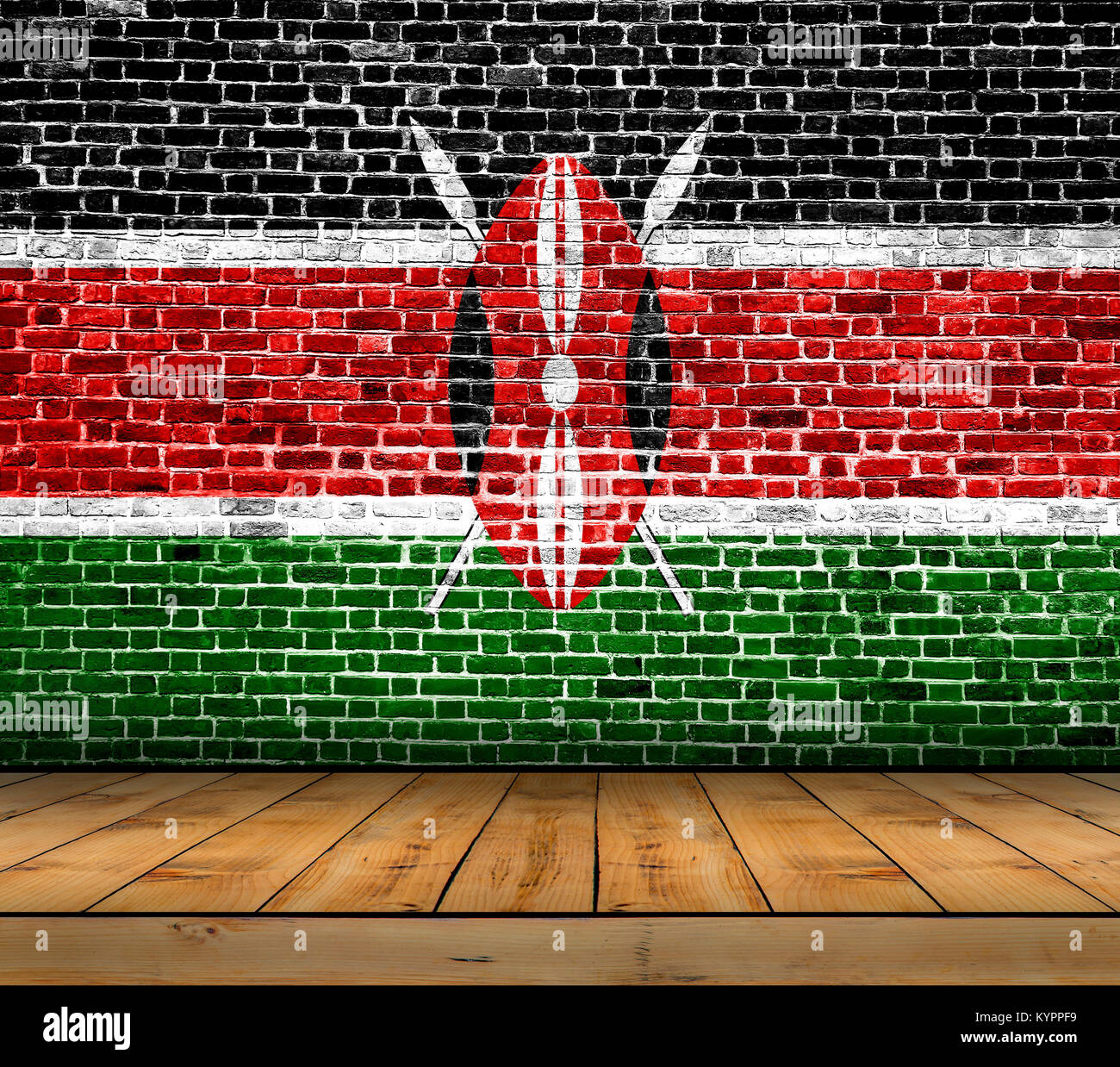 Kenya flag painted on brick wall with wooden floor Stock Photo