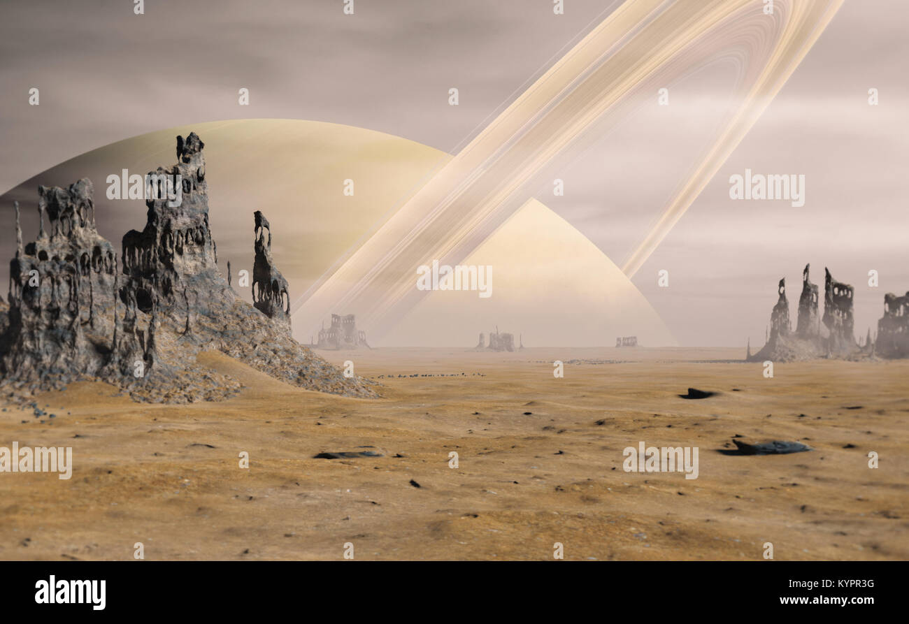 landscape on Titan, the largest moon of Saturn with strange rock formations in a desert - Stock Image