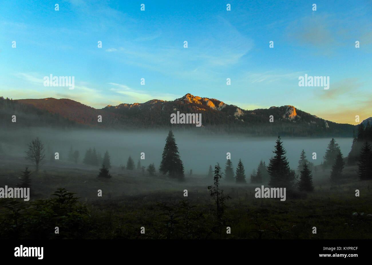 Early morning with mist at Lubenovac, the Northern Velebit, Croatia Stock Photo