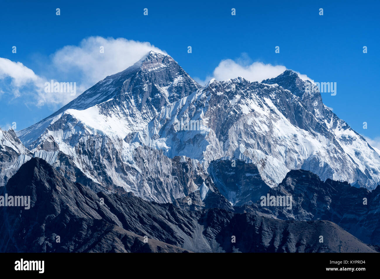 Everest, Lhotse and Nuptse mountains in Nepal - Stock Image