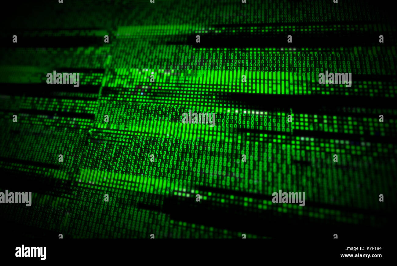 Corrupted computer data loss abstract background with glitch effects over digital binary code. IT industry, cybersecurity Stock Photo