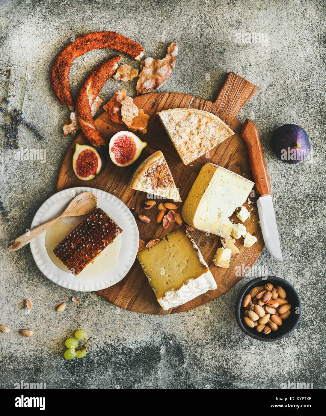 Flat Lay Of Cheese Platter With Cheese Assortment Figs Honey And Stock Photo Alamy
