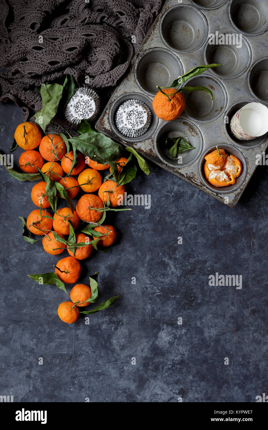 Oranges ready for baking with - Stock Image