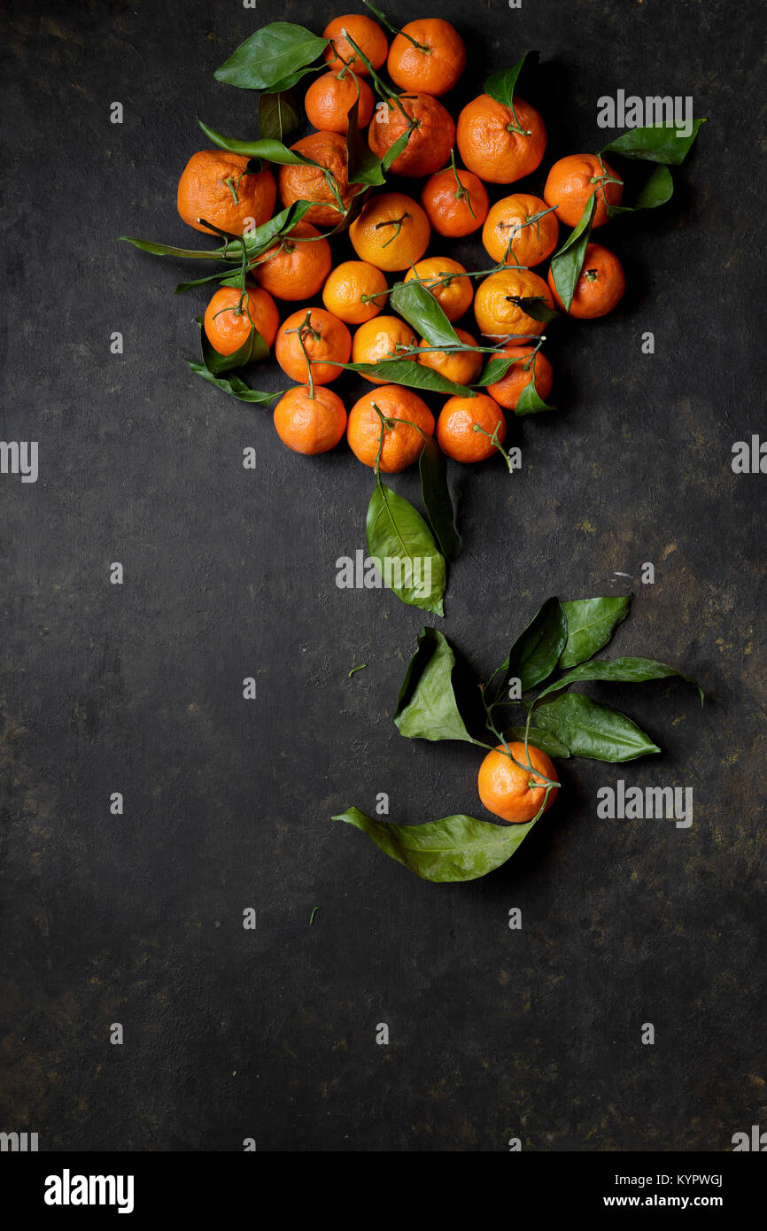 Clementine oranges on a black background - Stock Image