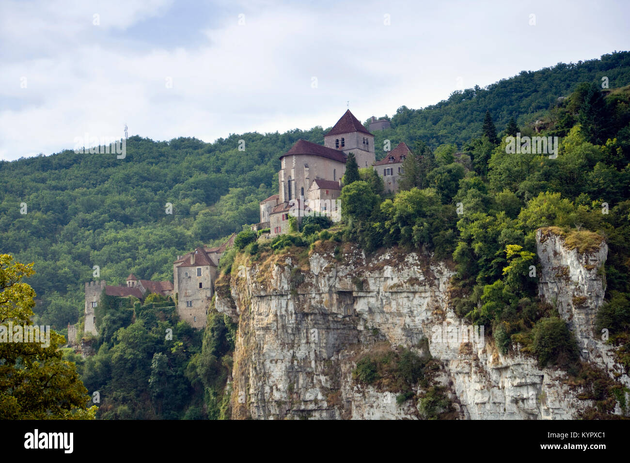 The historic clifftop village tourist attraction of  St Cirq Lapopie in the Lot Valley, Lot, France - Stock Image