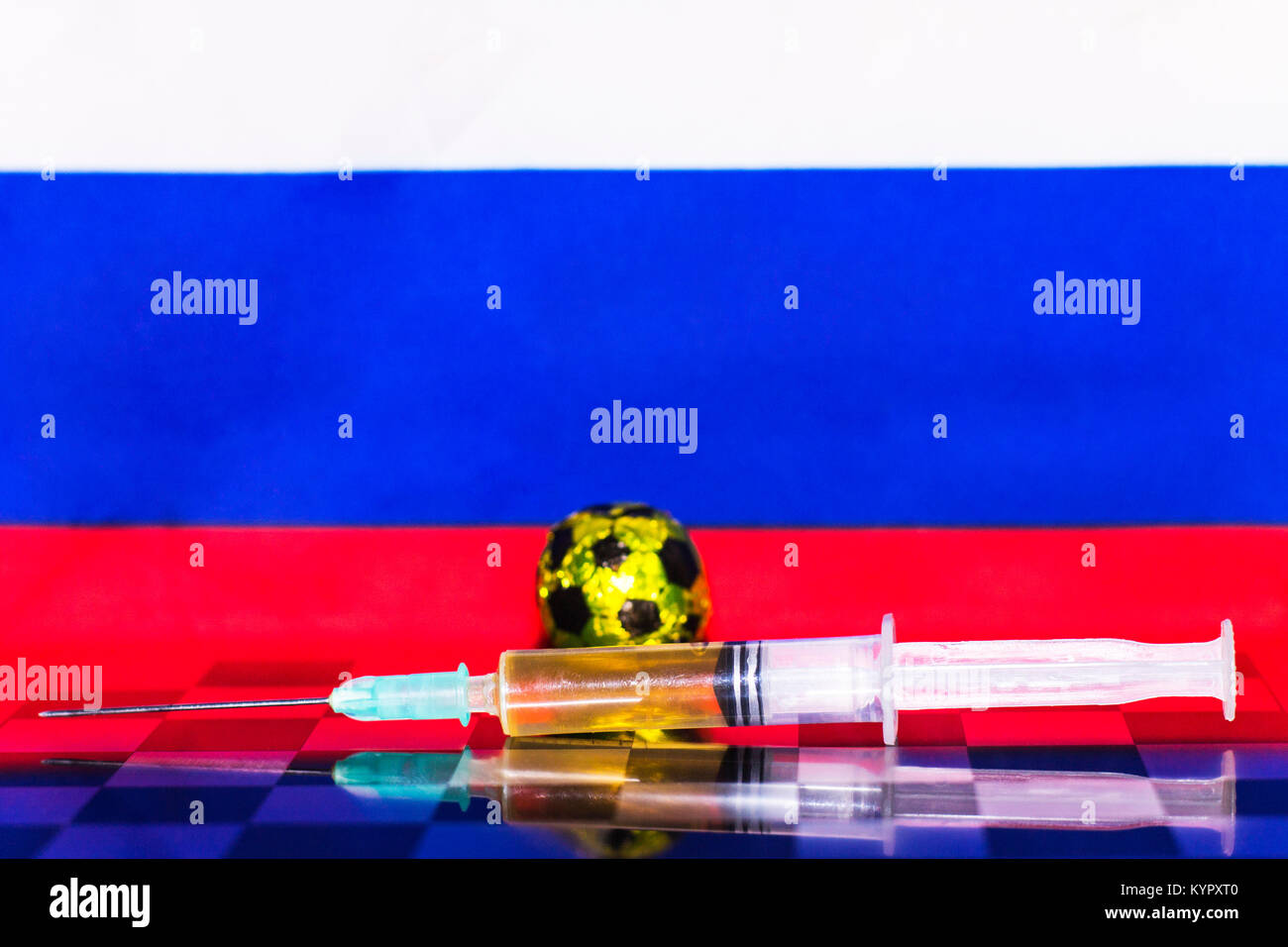 Russia Flag Chess as a football. FIFA World Cup 2018. A golden ball and a syringe with doping. - Stock Image