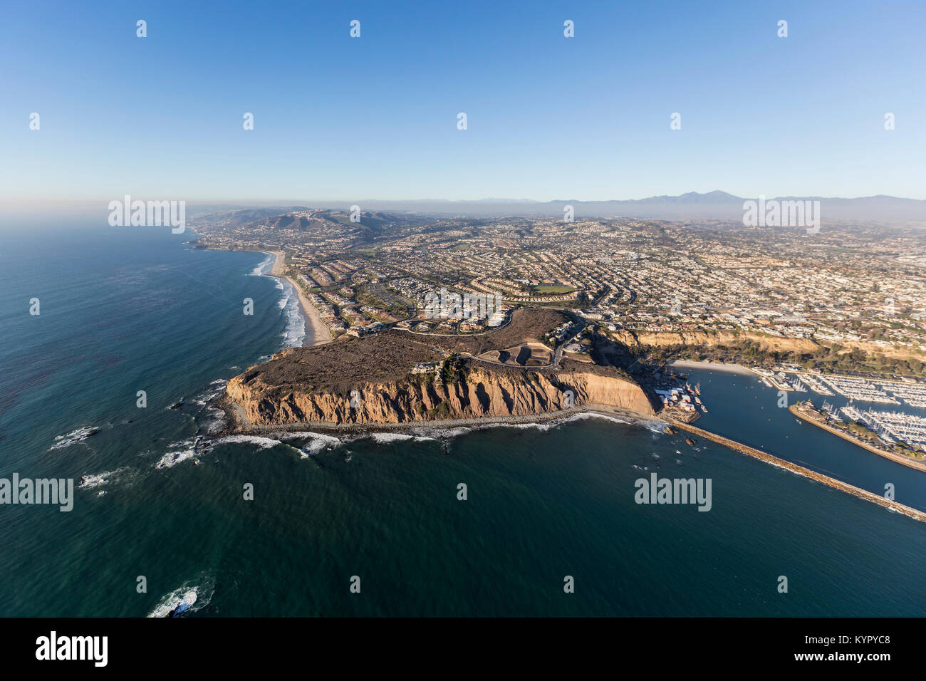 Aerial view of Dana Point on the Southern California pacific coast. - Stock Image
