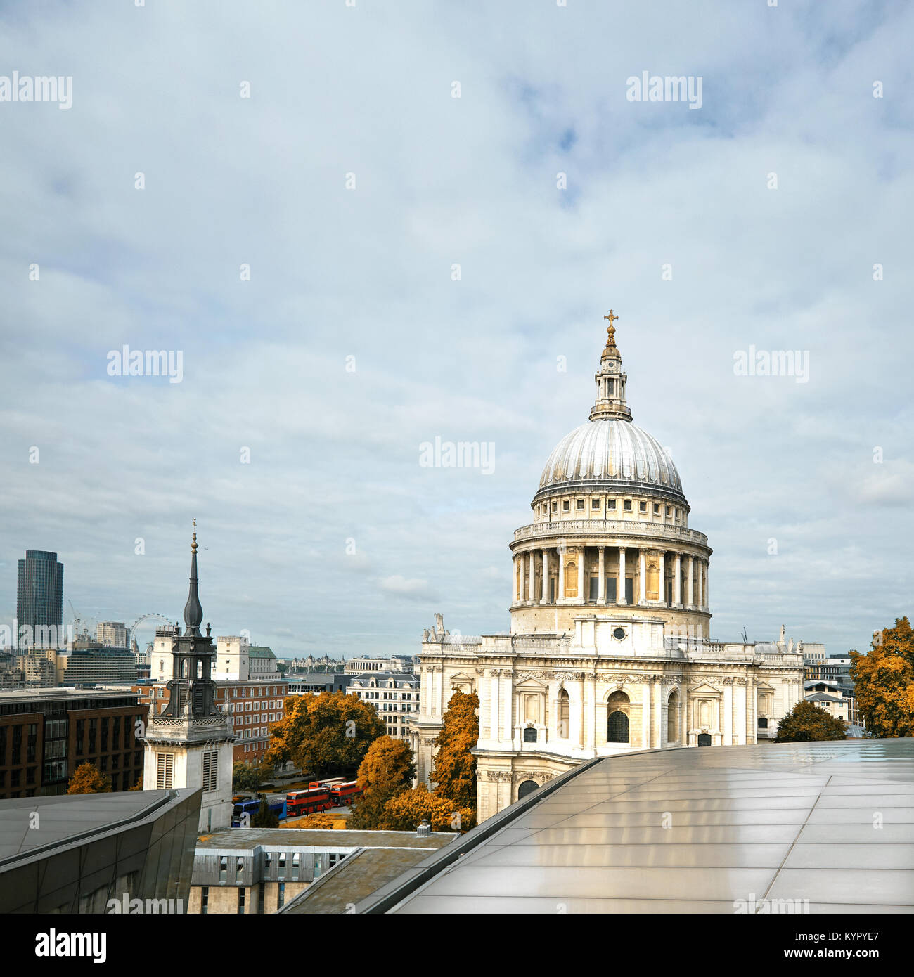 London cityscape with St Paul's Cathedral in Autumn. Panoramic toned image, square composition. - Stock Image