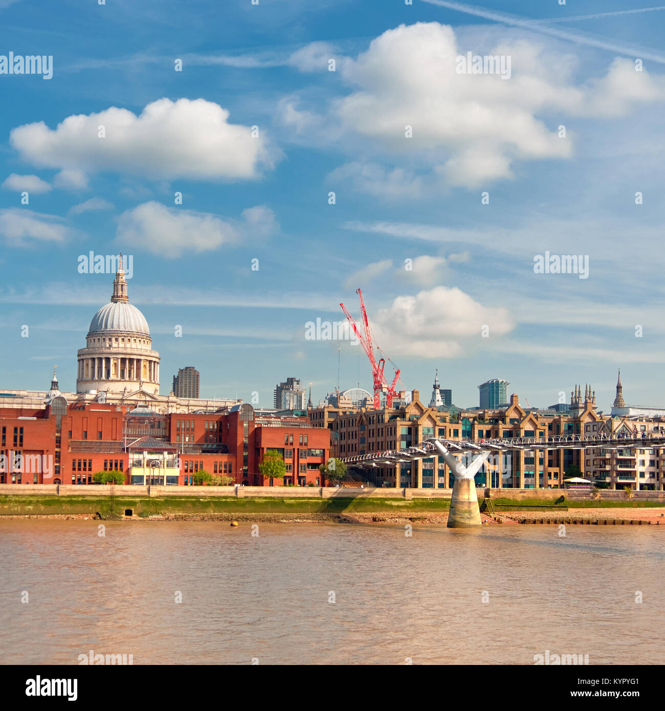 London, river Thames, panoramic image of Millennium bridge and St. Paul on a bright sunny day. Toned image, square - Stock Image