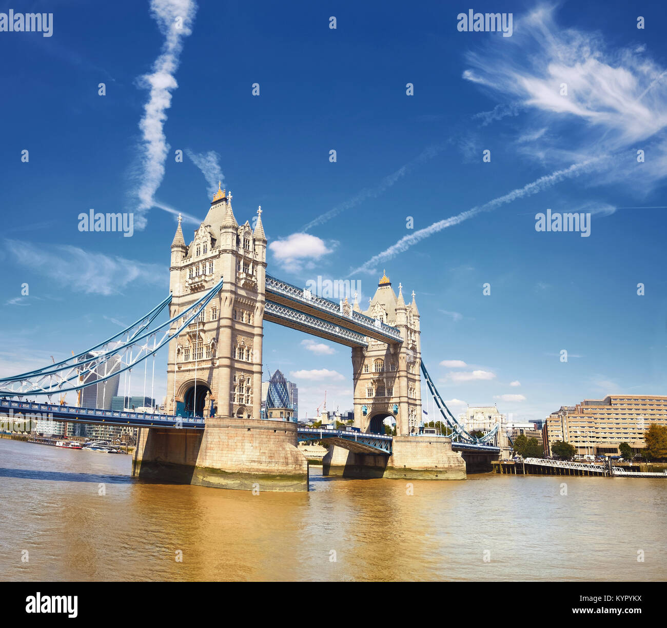 Tower Bridge on a bright sunny day in London, England, UK. Panoramic image. - Stock Image