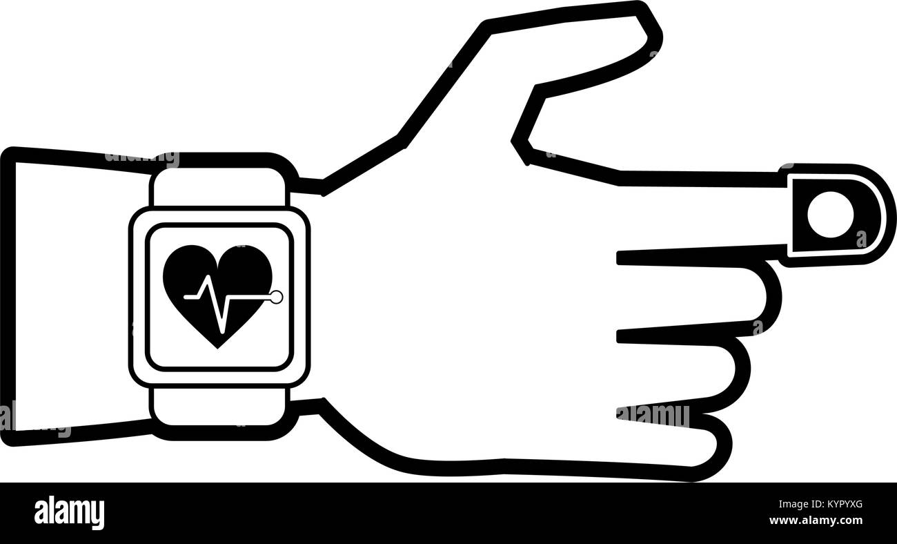 Smartwatch heartbeat pulse - Stock Image