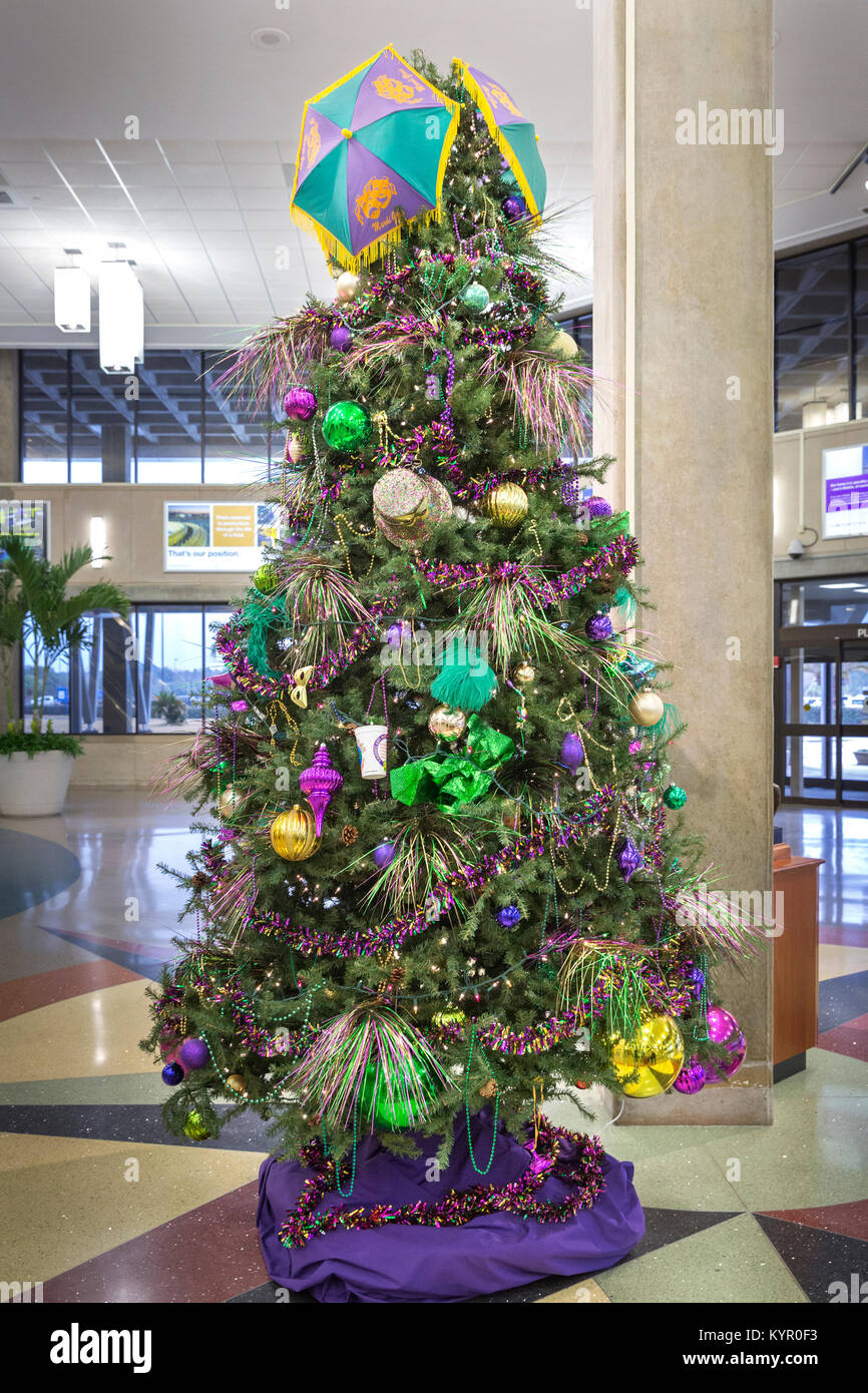 Mardi Gras Christmas Tree Decorated With Purple Justice Green