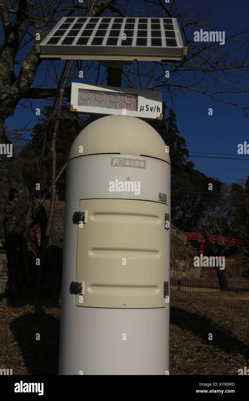 A Public Radiation Counter in a local park, Soma, Fukushima Jan 2018 - Stock Image