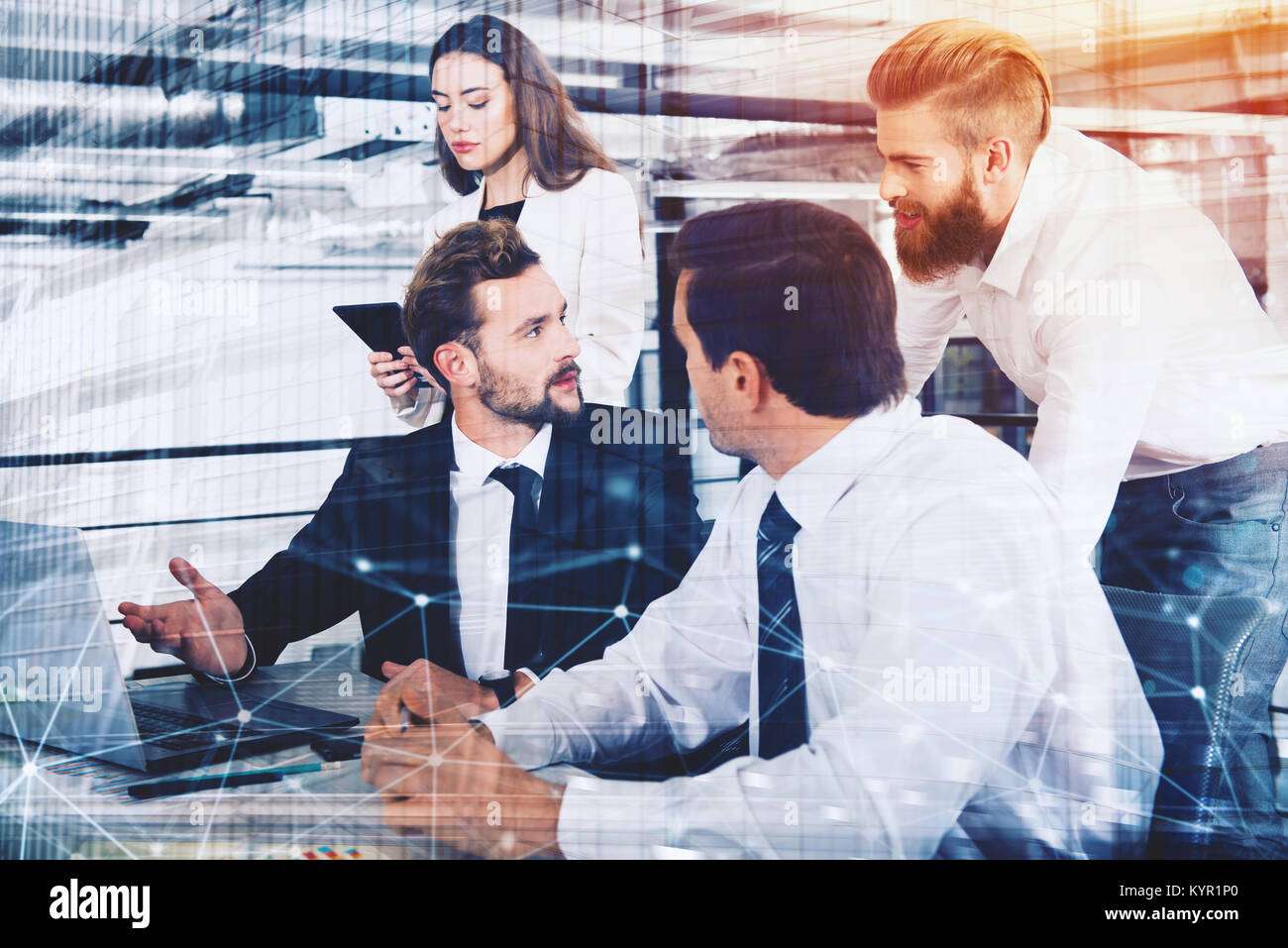 Businessperson in office connected on internet network. concept of partnership and teamwork Stock Photo