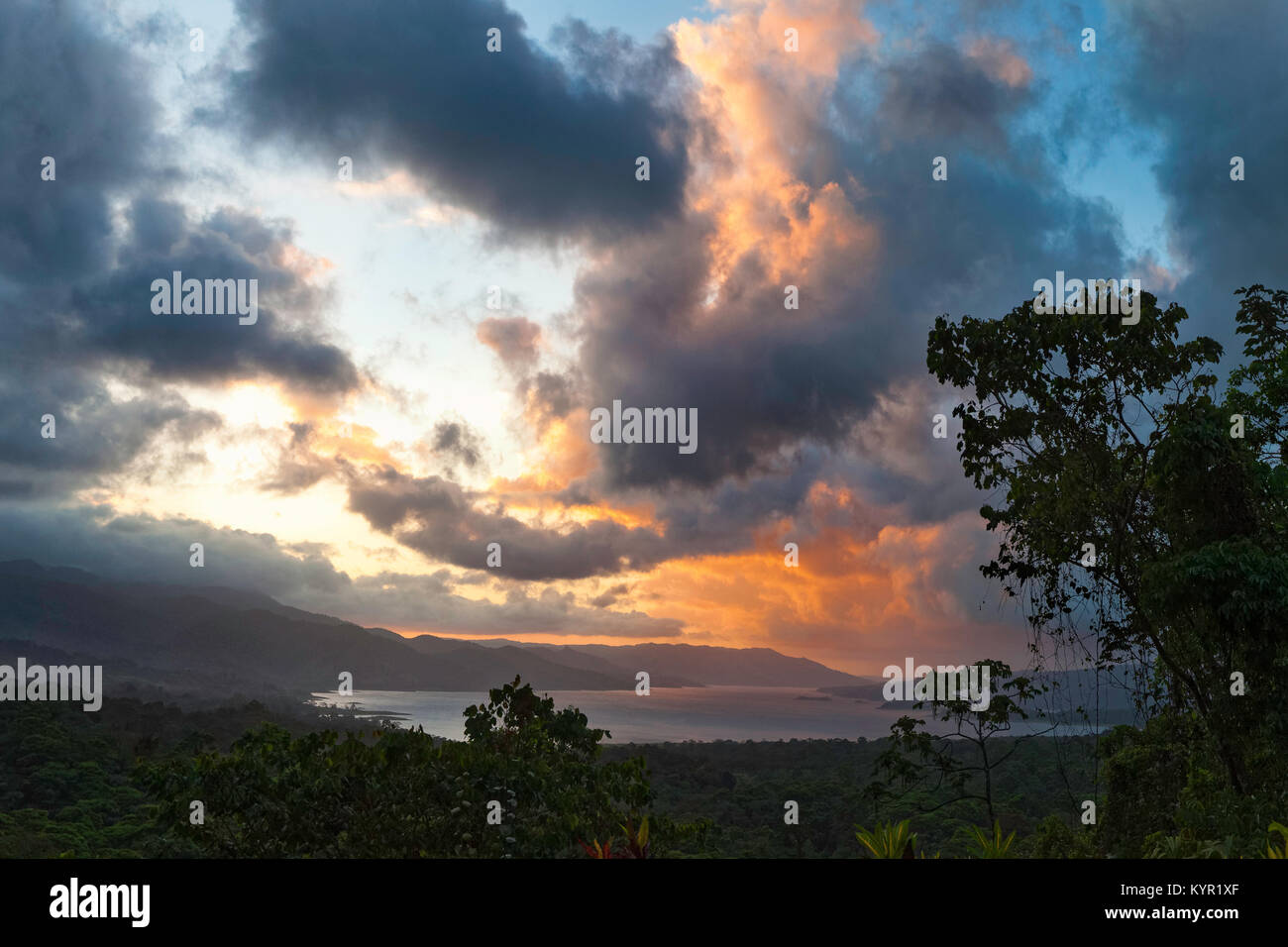 Sunset over Lake Arenal, Arenal Volcano National Park, Costa Rica - Stock Image