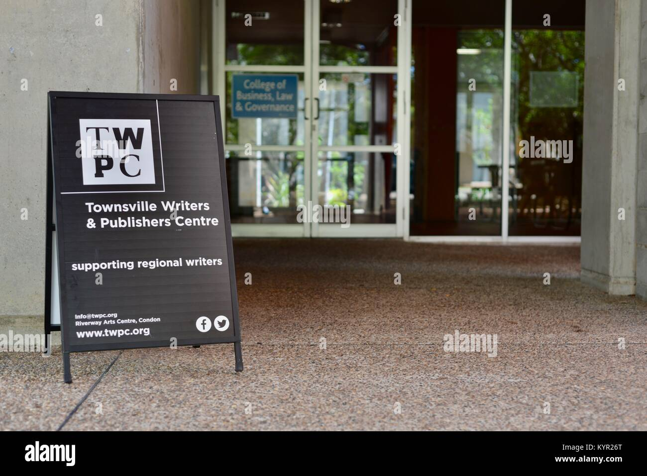 Townsville writers and publishers centre, supporting regional writers, www.twpc.org, James Cook University, Townsville, - Stock Image