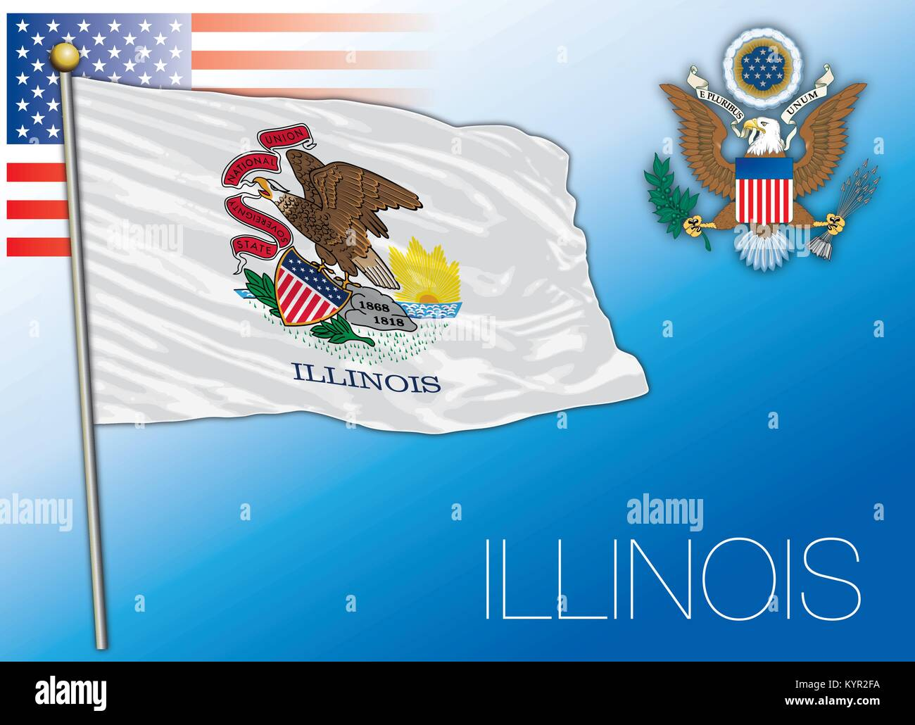 Illinois federal state flag, United States - Stock Vector