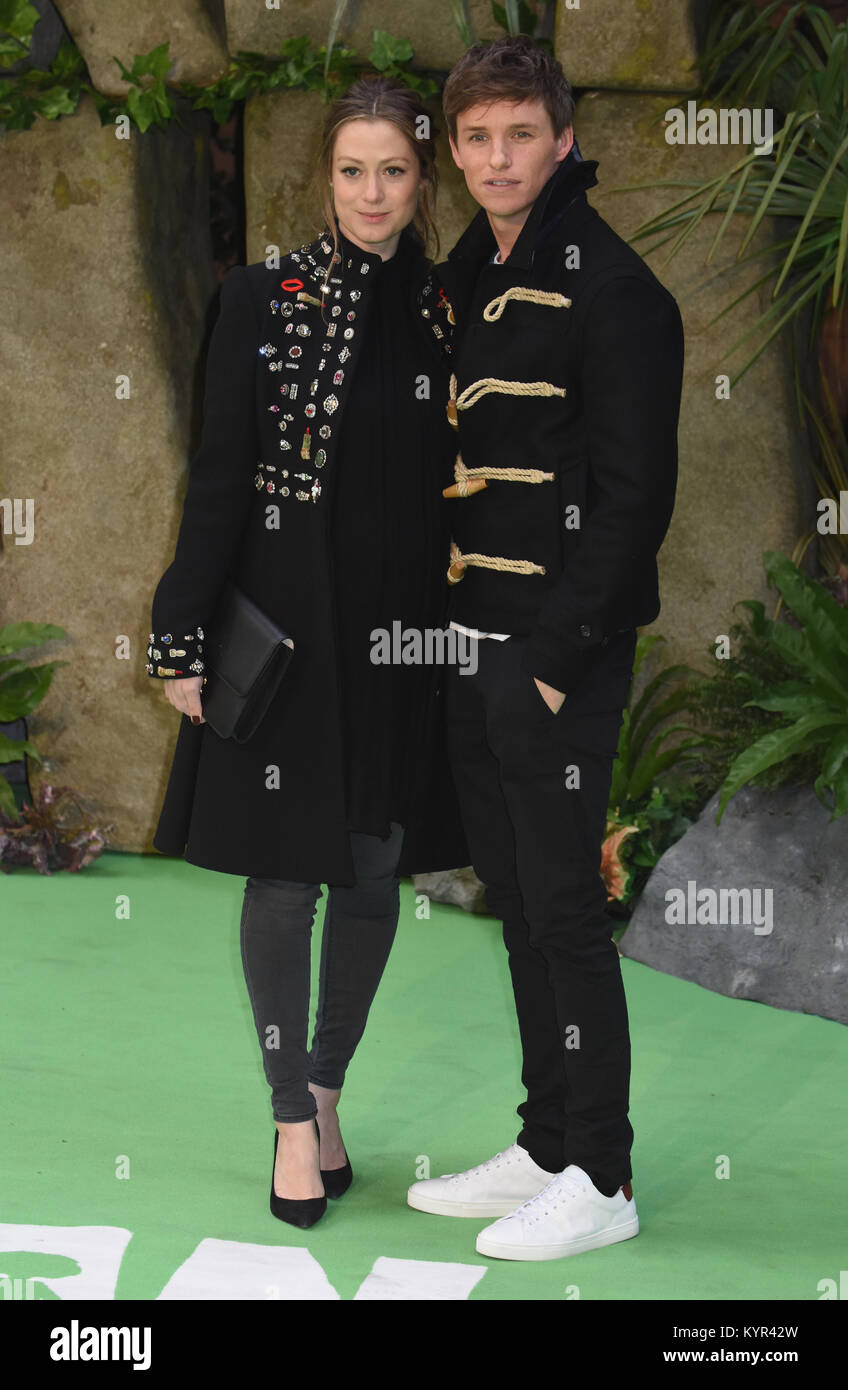 Eddie Redmayne and Hannah Bagshawe,'Early Man' - World Premiere,BFI IMAX,Southbank, London.UK - Stock Image