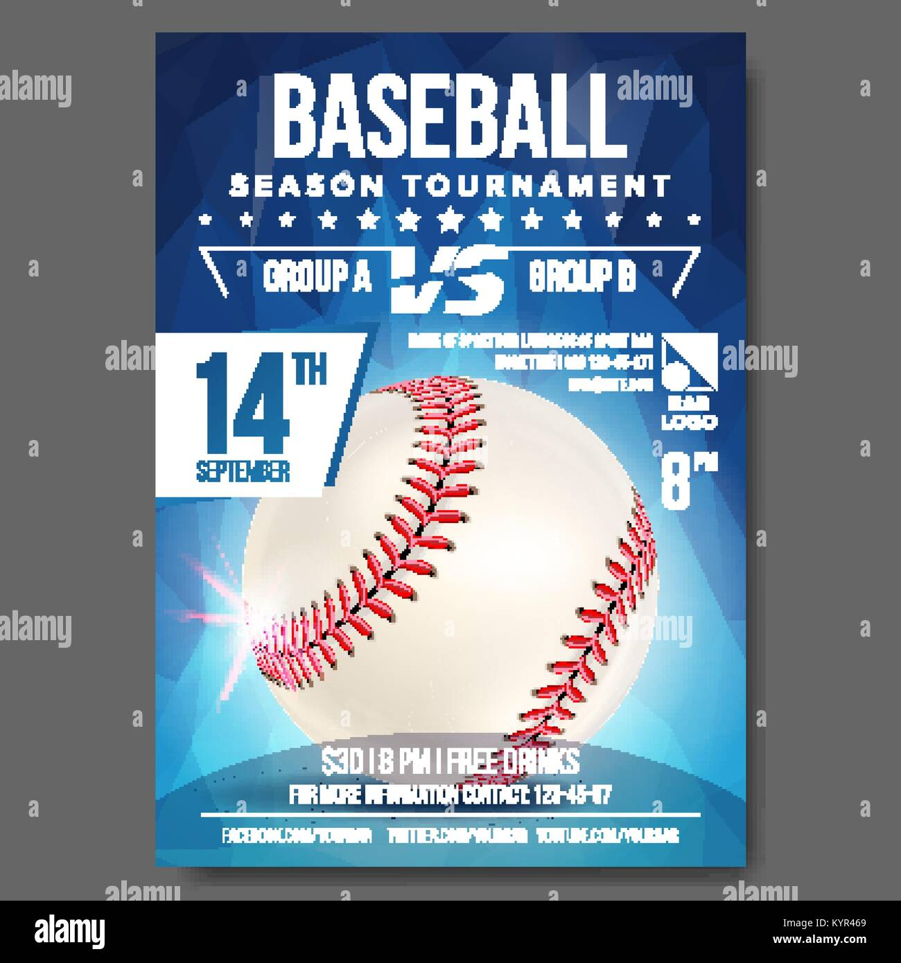 Baseball Poster Vector. Banner Advertising. Sport Event Announcement. Announcement, Game, League Design. Championship Stock Vector
