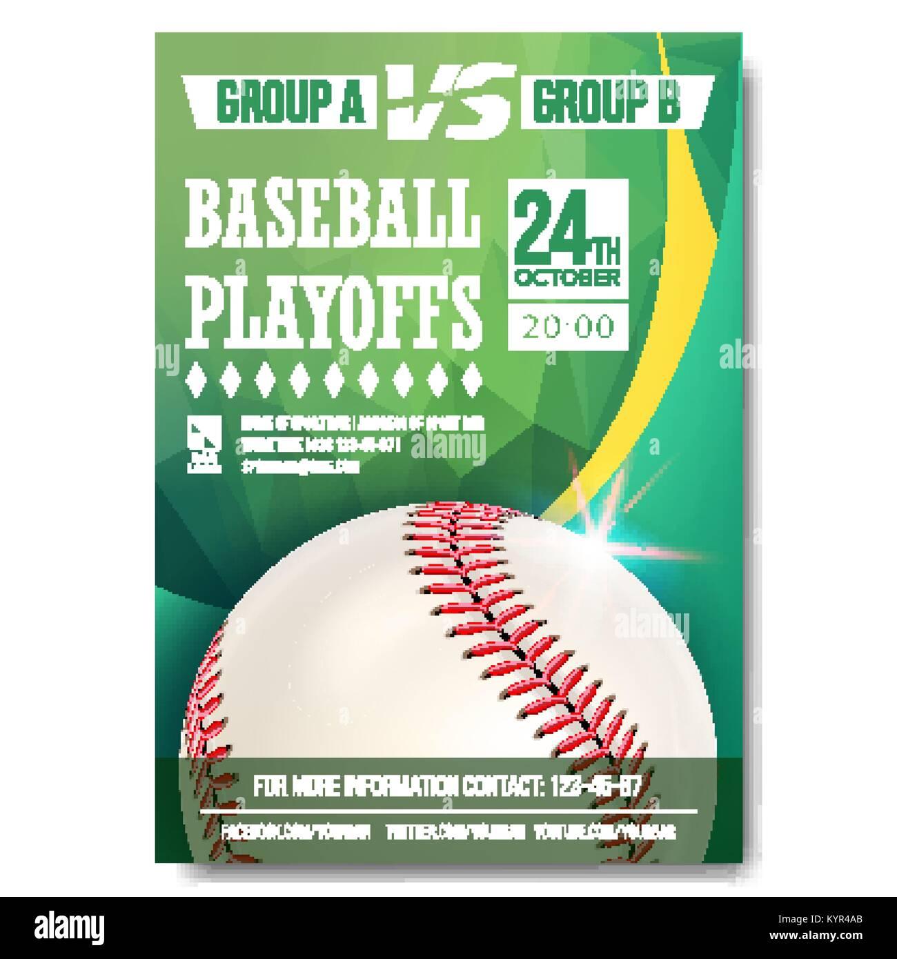 Baseball Poster Vector. Design For Sport Bar Promotion. Baseball Ball. Modern Tournament. Game Illustration Stock Vector