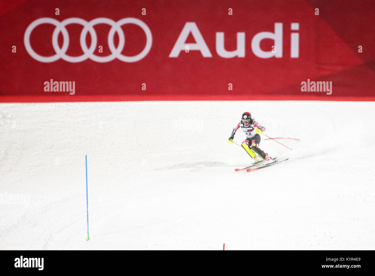 ZAGREB, CROATIA - JANUARY 3, 2018 : Mielzynski Erin of Can competes during the Audi FIS Alpine Ski World Cup Women's - Stock Image