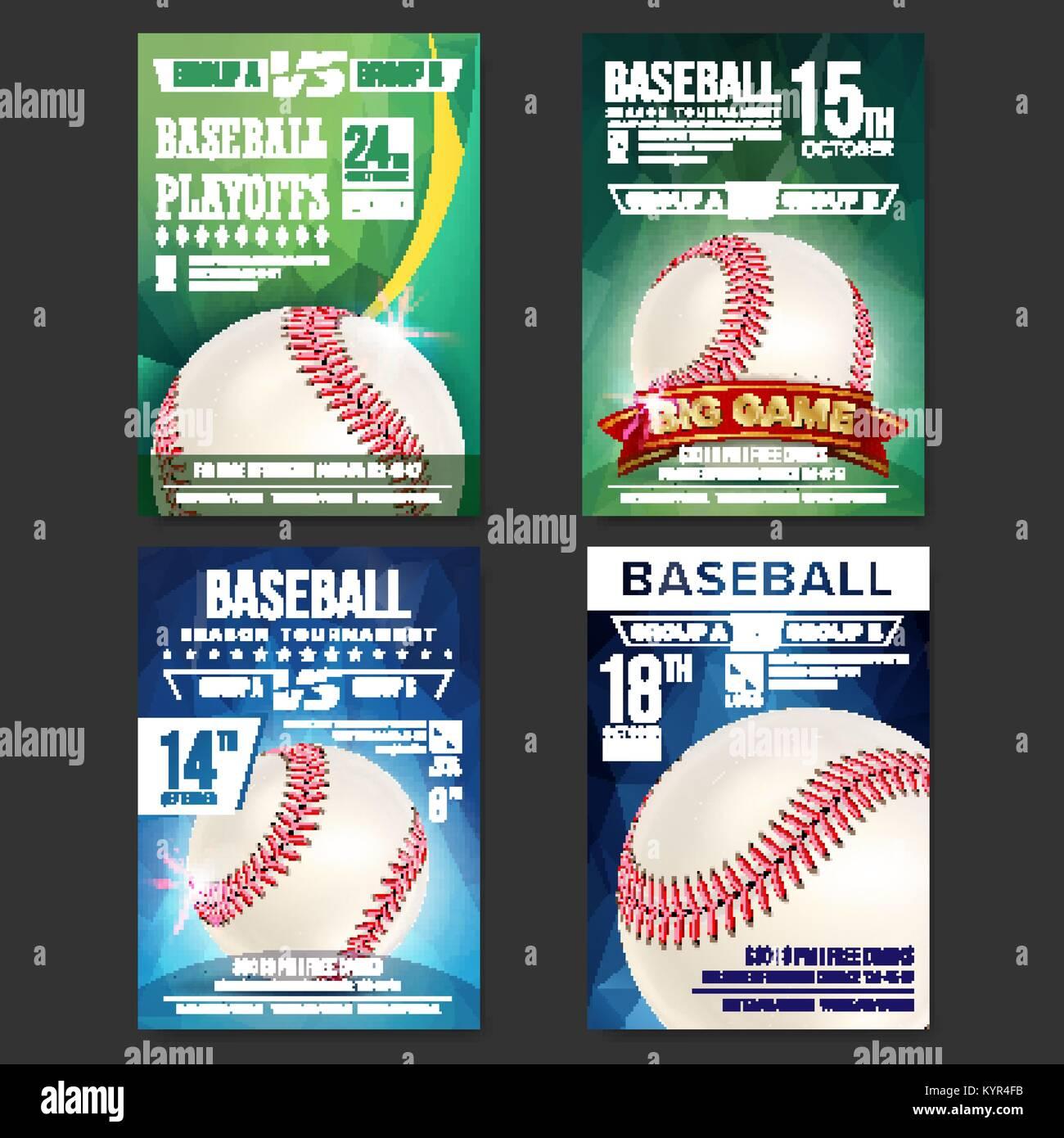 Baseball Poster Set Vector. Design For Sport Bar Promotion. Baseball Ball. Modern Tournament. Sport Event Announcement. Stock Vector