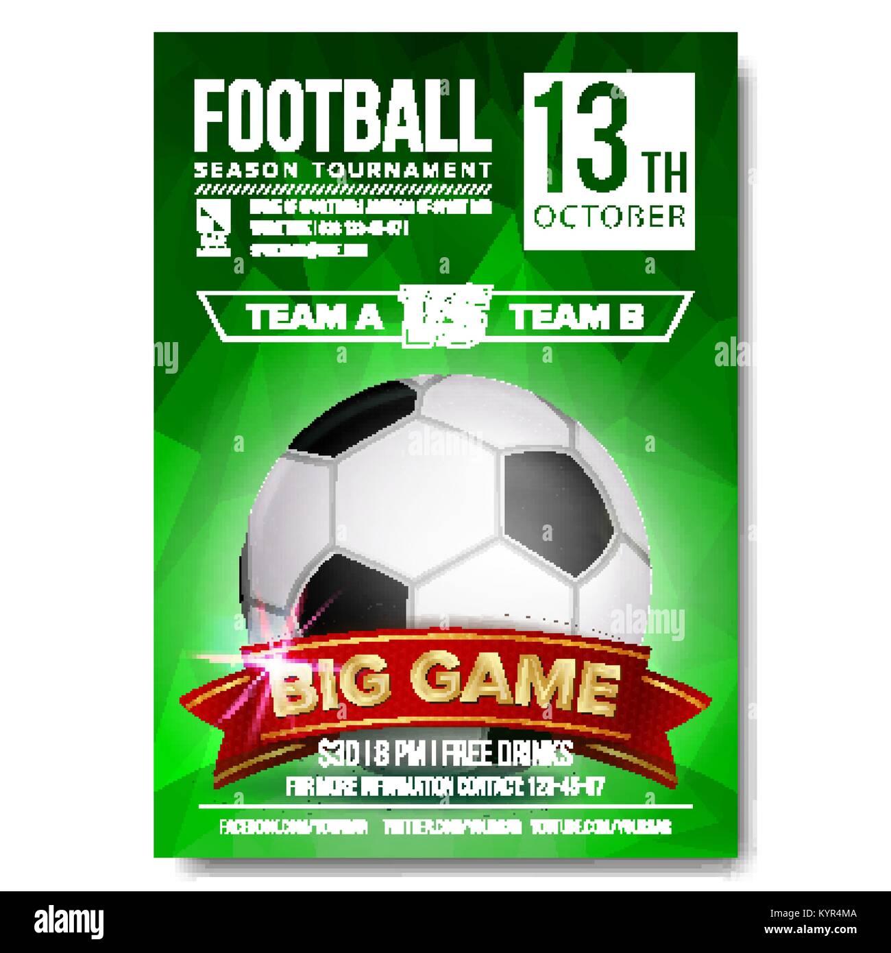 soccer poster vector football ball design for sport bar promotion stock vector art. Black Bedroom Furniture Sets. Home Design Ideas