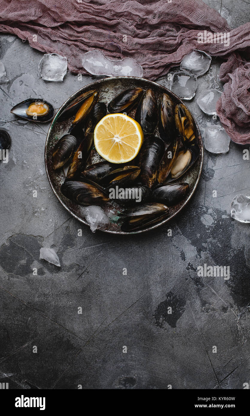 top view of delicious mussels with shells and lemon on vintage plate and ice cubes on grey - Stock Image
