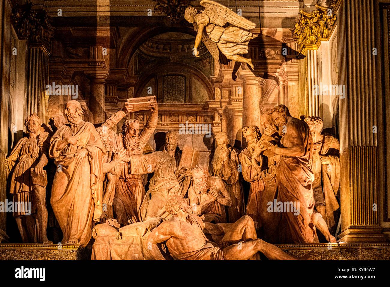 Italy Emilia Romagna Bologna monumental Complex of St Maria della Vita - oratory dei Battuti - Transit of the Virgin - Stock Image