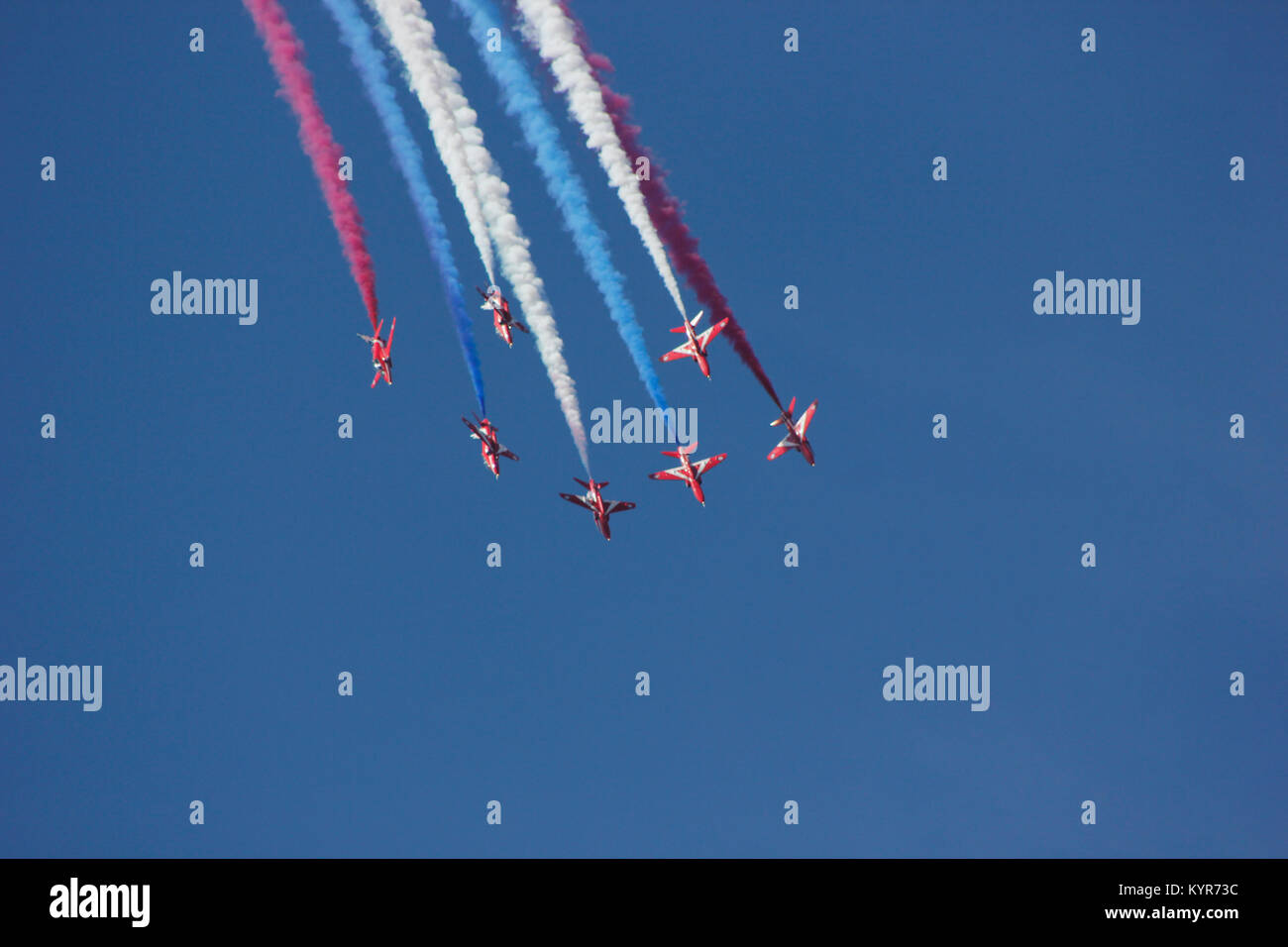 Red Arrows Display at Farnborough Airshow 2014 - Stock Image