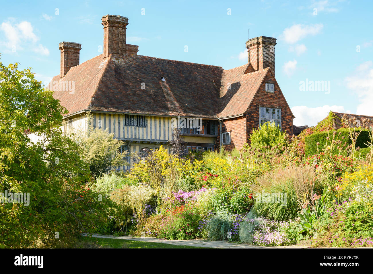 Great Dixter House and Gardens - Long Border in late summer, end of August, Northiam, Rye, East Sussex, England, - Stock Image