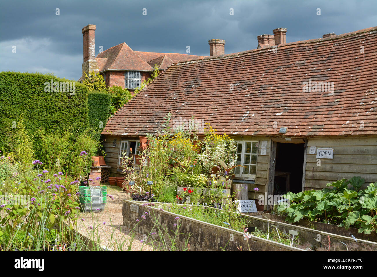 Great Dixter House and Gardens - Nursery shop in late summer, end of August, Northiam, Rye, East Sussex, England, - Stock Image