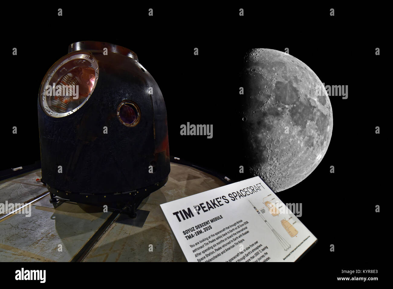 Tim Peakes Soyuz Space Capulse against the moon background at Shildon - Stock Image