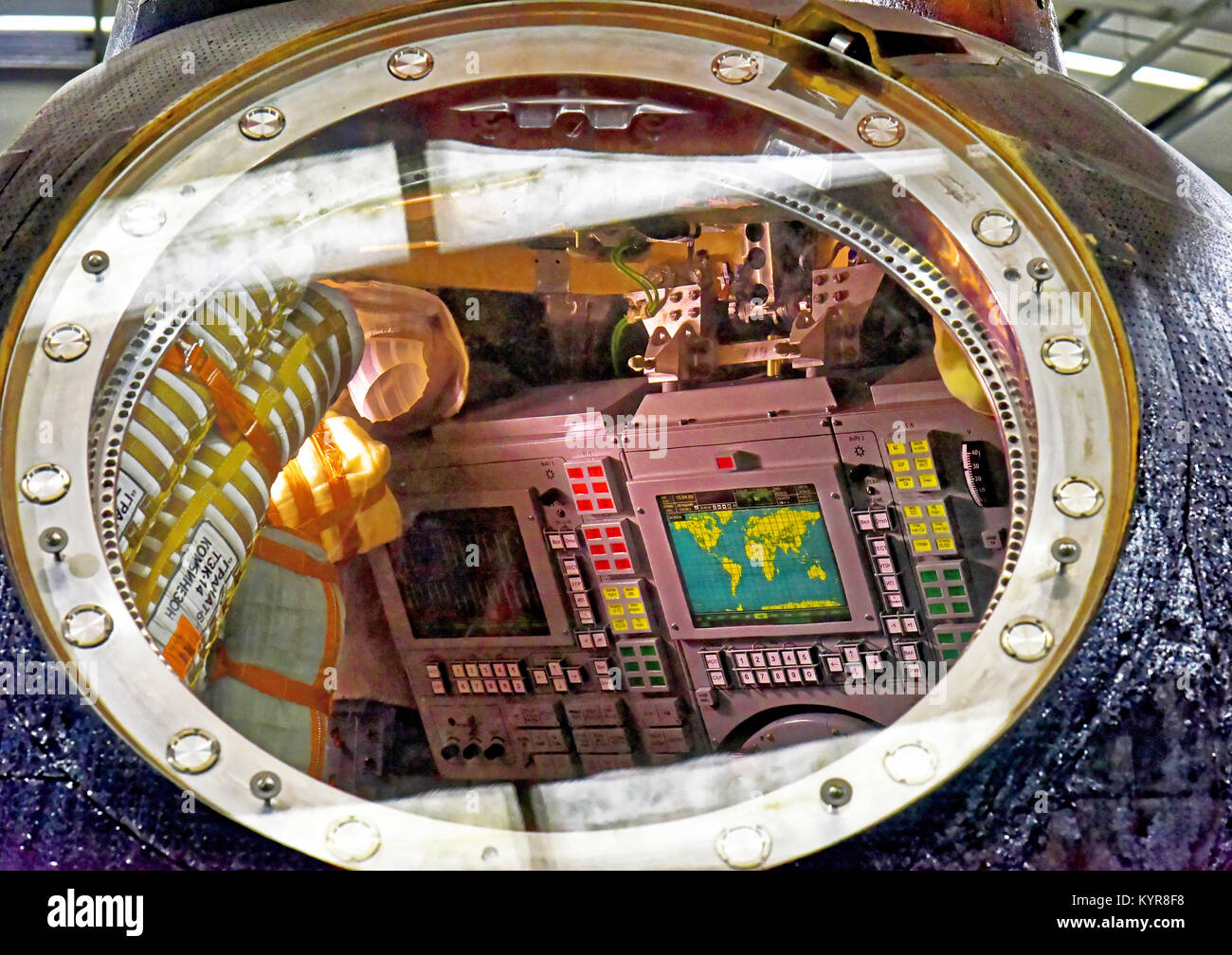 Tim Peakes Soyuz Russian Space Craft capsule window detail Shildon Railway Museum - Stock Image