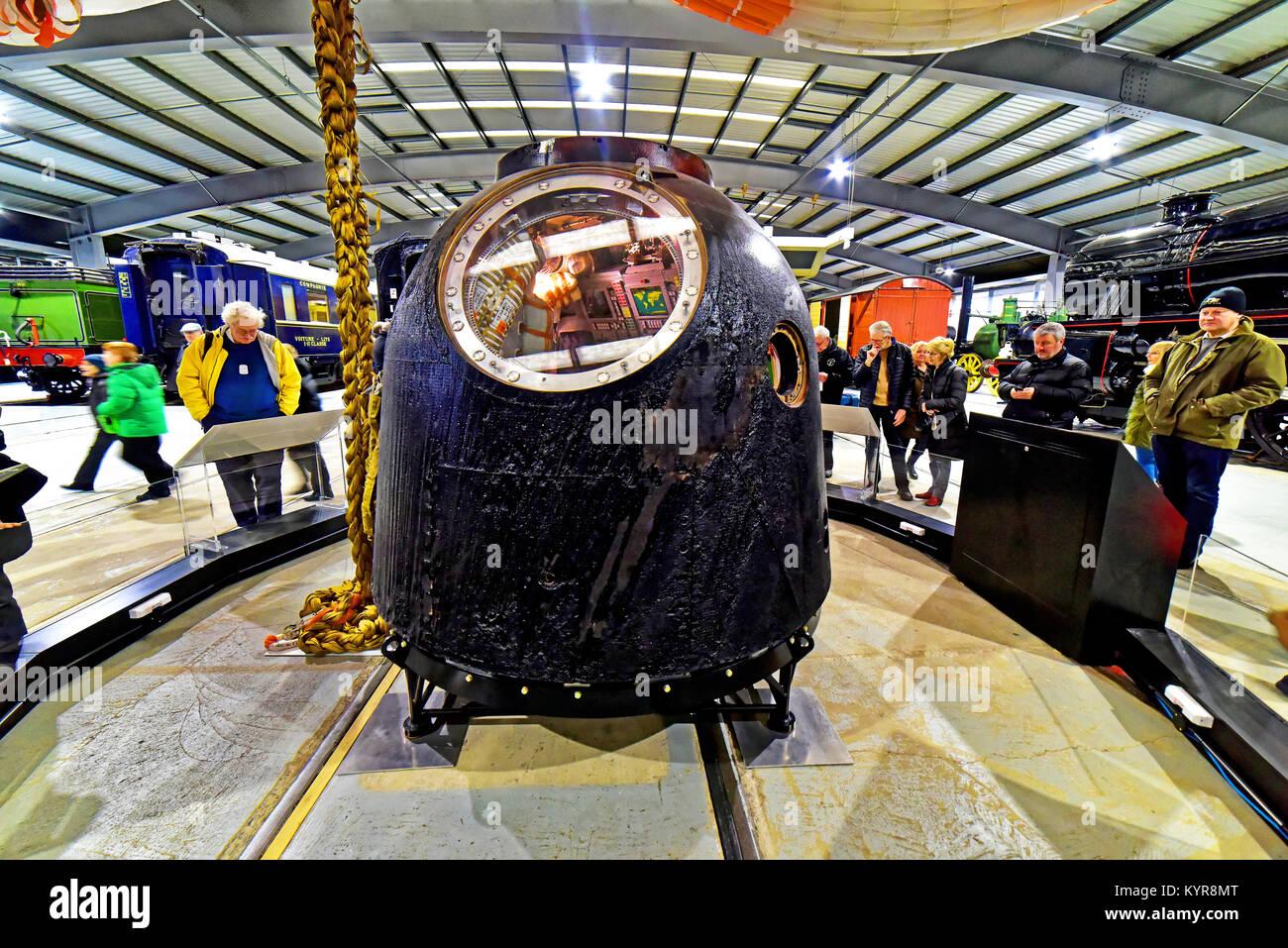 Tim Peakes Soyuz Russian Space Craft capsule Shildon Railway Museum Stock Photo