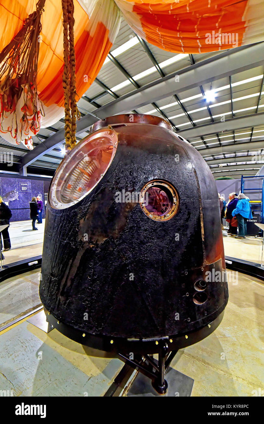 Tim Peakes Soyuz Space Capsule and re entry parachute details in Russian Shildon Railway Museum - Stock Image