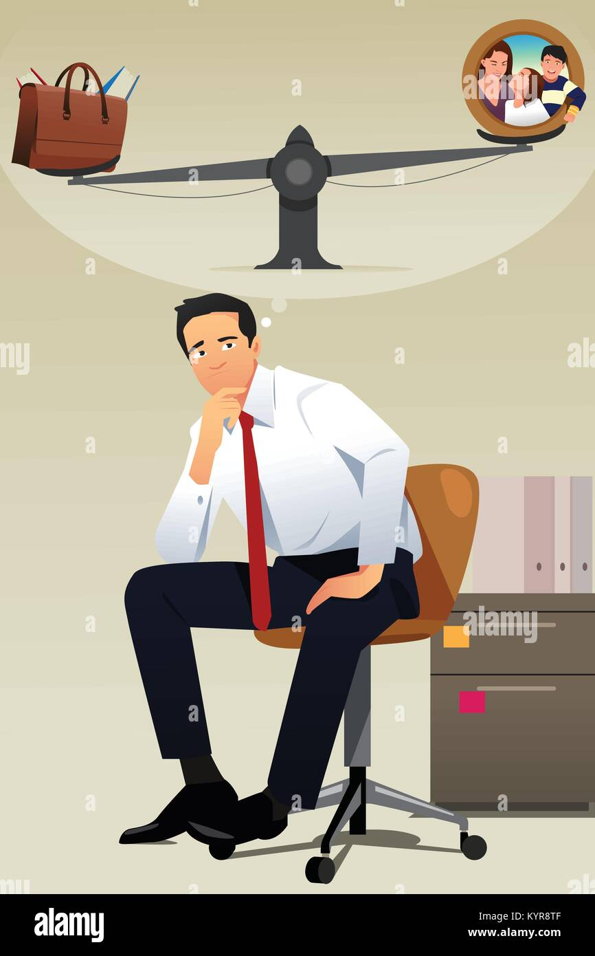 A vector illustration of Stressed Businessman Choosing Between Career and Family - Stock Vector