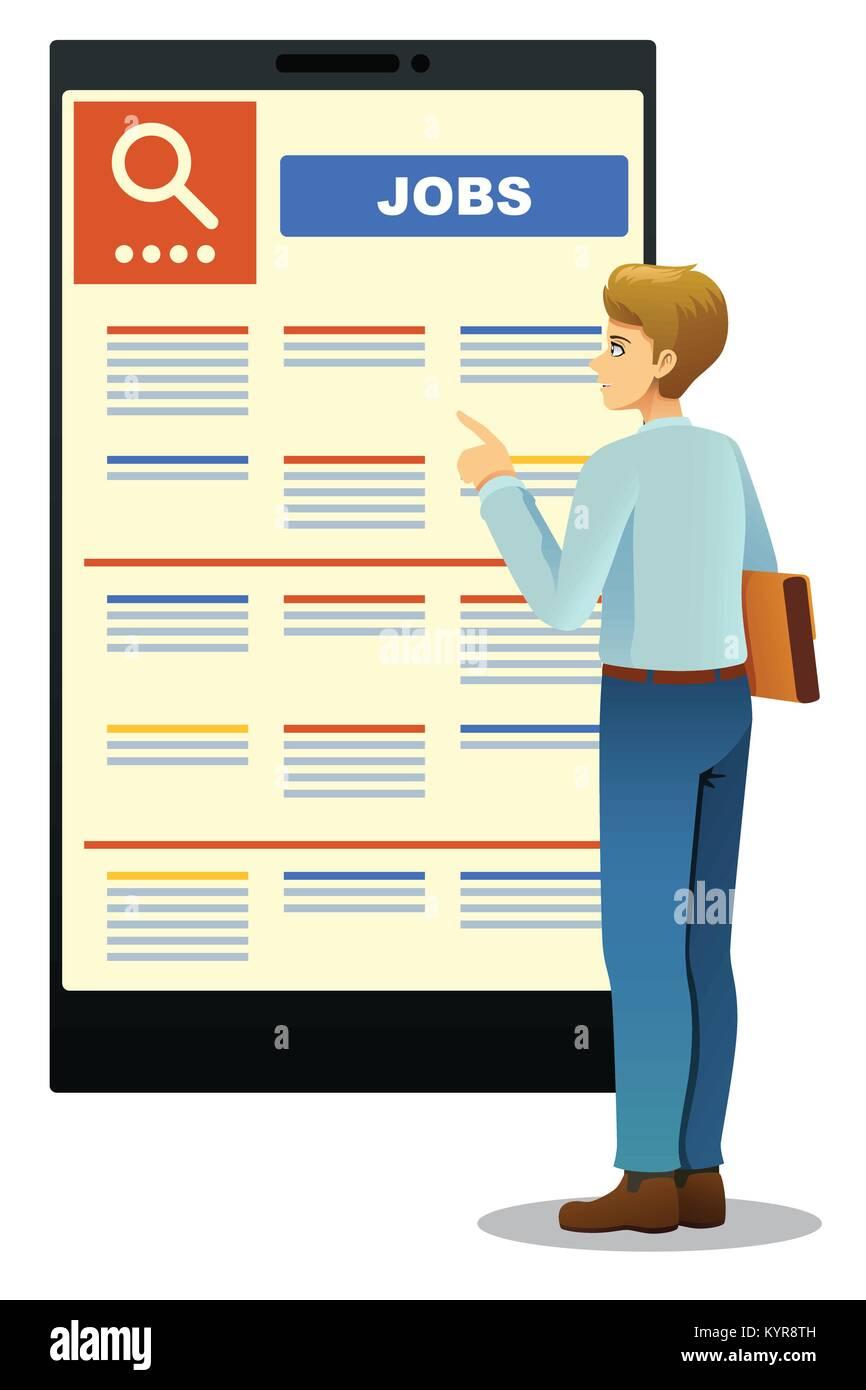 A vector illustration of Woman Looking at Job Posting - Stock Image