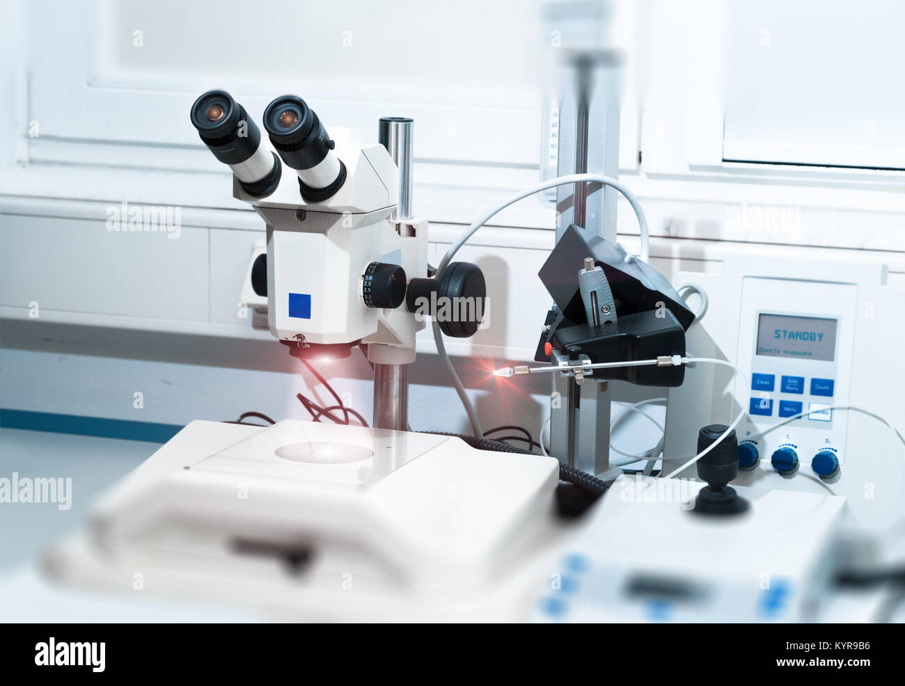 Modern microscope station for making transgenic fish Stock Photo