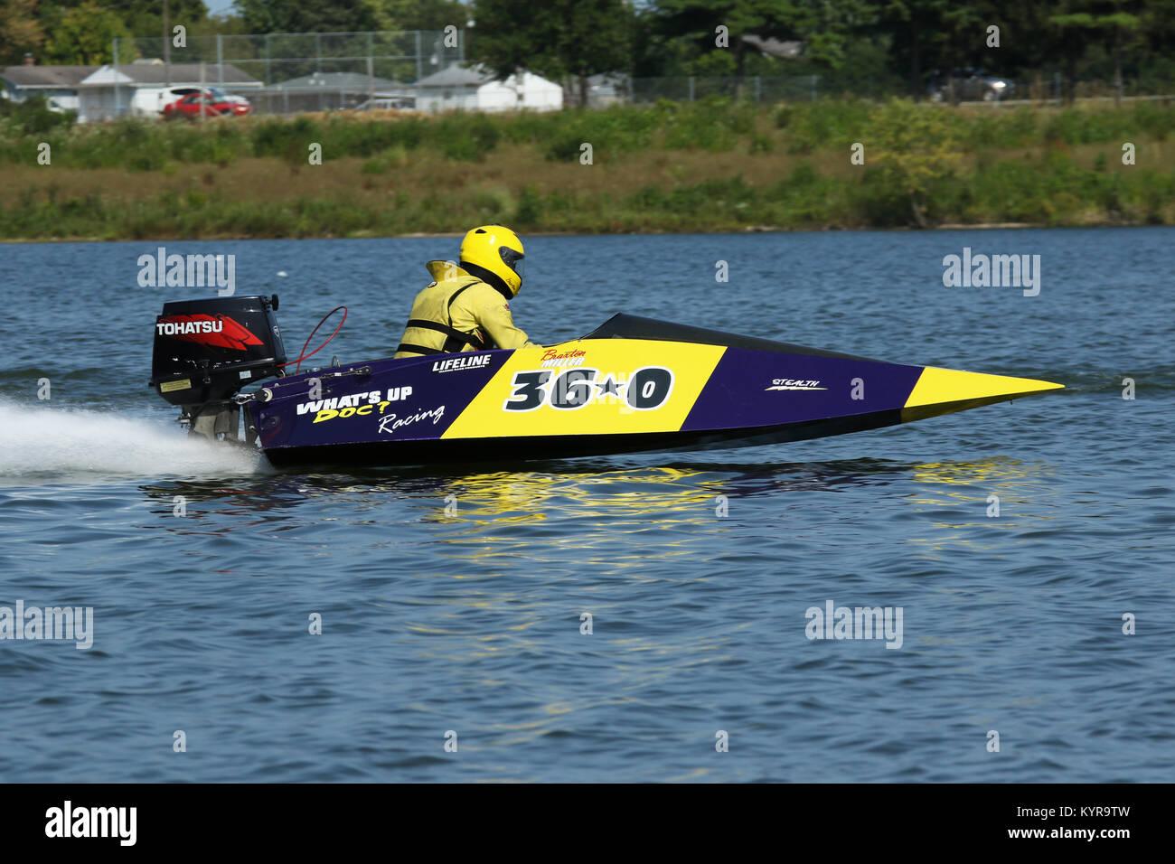 Braxton Miller in Boat 36O. Outboard Hydroplane boat races. Dayton Record  Runs Regatta. Eastwood Lake, Dayton, Ohio, USA.